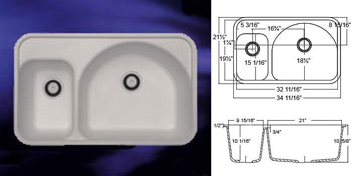 Countertops & Double Bowl Sinks : DuPont Corian, C-TECH-I